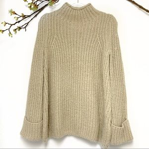 Topshop tan chunky turtleneck oversized sweater